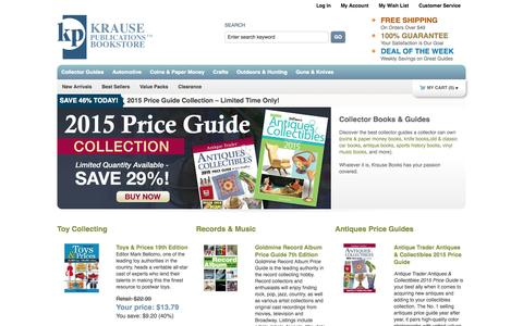 Screenshot of Home Page krausebooks.com - Collector Guide Books for Coins, Guns, Knives, Cars, Antiques & more!    Krause Books - captured Sept. 25, 2014