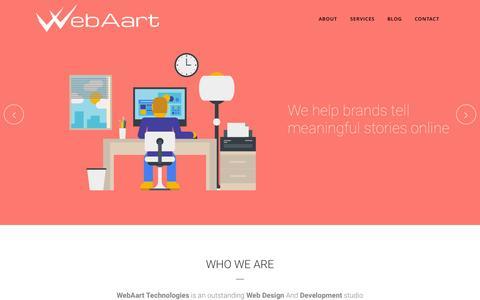 Screenshot of Home Page webaart.com - WebAart Technologies - Creative Web Design & Development Studio - captured Sept. 1, 2015