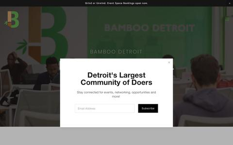 Screenshot of Home Page bamboodetroit.com - Bamboo Detroit Office Space & Detroit Coworking space - captured Aug. 1, 2018