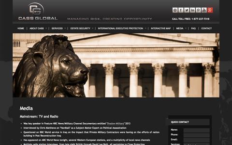Screenshot of Press Page cassglobalsecurity.com - Media - CASS Global | Articles | Books | Videos - captured Sept. 26, 2014