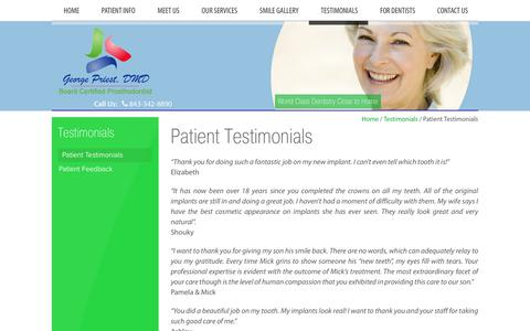 Screenshot of Testimonials Page georgepriest.com - Patient Testimonials Hilton Head Island SC, George Priest, DMD - captured July 2, 2018