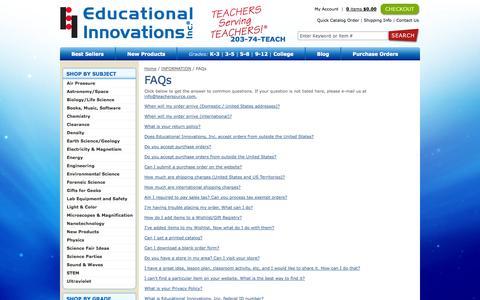 Screenshot of FAQ Page teachersource.com - FAQs - Educational Innovations | Teacher source for science learning, teaching & education: Educational Innovations - captured Sept. 23, 2014