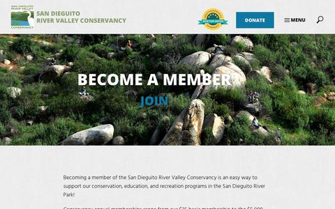 Screenshot of Signup Page sdrvc.org - Join - San Dieguito River Valley Conservancy - captured Oct. 2, 2018