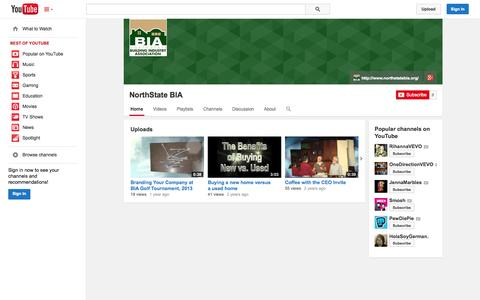 Screenshot of YouTube Page youtube.com - NorthState BIA  - YouTube - captured Oct. 29, 2014