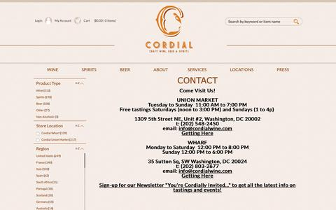 Screenshot of Contact Page Locations Page cordialwine.com - Cordial Fine Wine and Spirits Contact Us - captured Nov. 11, 2018