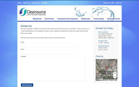 Screenshot of Contact Page clearsourcesarl.com - Clearsource Water Treatment Engineering LebanonContact Us - Clearsource Water Treatment Engineering Lebanon - captured Aug. 2, 2017