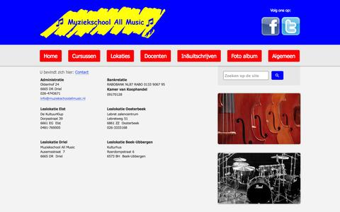 Screenshot of Contact Page muziekschoolallmusic.nl - Contact | Muziekschool All Music - captured Oct. 7, 2014