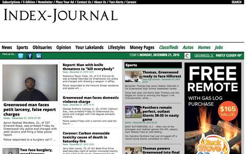Screenshot of Home Page indexjournal.com - Index-Journal - captured Dec. 21, 2015