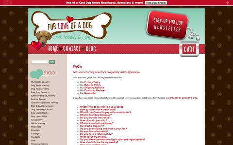 Screenshot of FAQ Page forloveofadog.com - For Love of a Dog Jewelry Frequently Asked Questions - captured Sept. 30, 2014