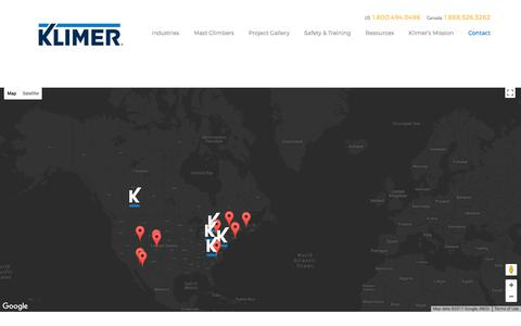 Screenshot of Contact Page Locations Page klimer.com - Klimer Locations - Klimer Mast-Climbing Work and Transport Platforms – Nothing is Out of Reach. - captured Oct. 17, 2017