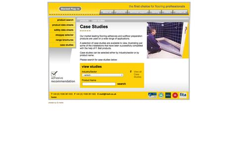 Screenshot of Case Studies Page f-ball.co.uk - F Ball - The First Choice for Flooring Professionals - Case Stuides - captured Oct. 27, 2014