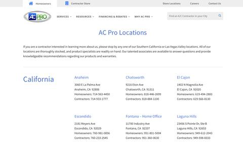 Screenshot of Locations Page acpro.com - Locations – AC Pro - captured Dec. 9, 2016