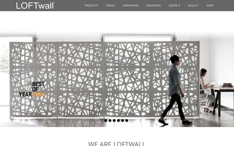 Screenshot of Home Page loftwall.com - Modern Room Dividers and Partitions for Lofts, Offices - captured Dec. 6, 2015