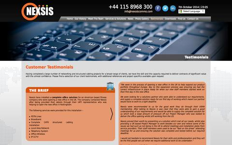 Screenshot of Testimonials Page nexsiscomms.com - Structured Cabling & Computer Networking Services By Nexsis Comms Ltd - Testimonials - captured Oct. 7, 2014