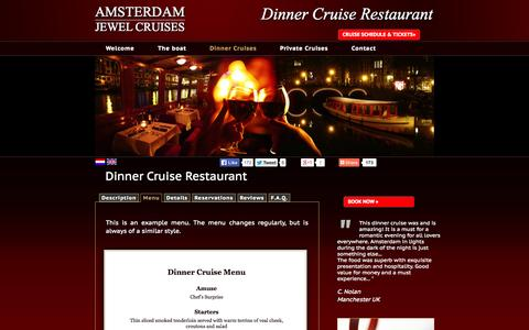 Screenshot of Menu Page amsterdamjewelcruises.com - Amsterdam Dinner Cruise| Amsterdam Exclusive Canal Cruises | Romantic Dinner Cruises - captured Sept. 30, 2014