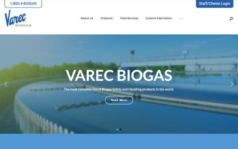 Screenshot of Home Page varec-biogas.com - Varec Biogas - captured Oct. 19, 2017