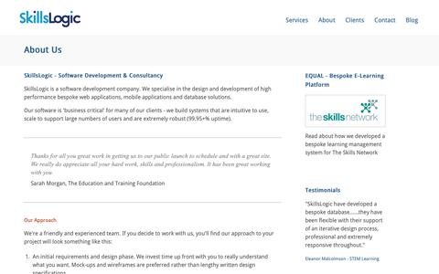 Screenshot of About Page skillslogic.com - Software Development Company - IT Consultancy - Sheffield | SkillsLogic - captured Oct. 18, 2018