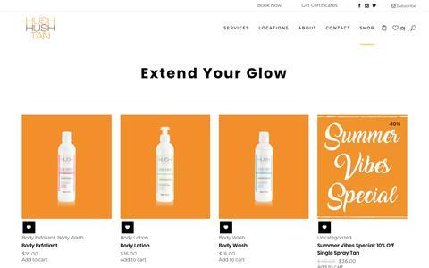 Screenshot of Products Page hushhushtan.com - Products - Hush Hush Tan - captured July 24, 2018