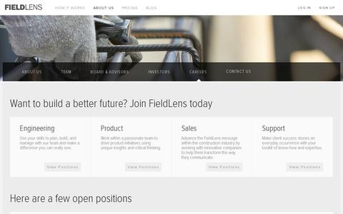 Screenshot of Jobs Page fieldlens.com - Careers | FieldLens - captured July 20, 2014