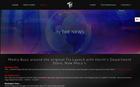 Screenshot of Press Page tivperfume.com - IN THE NEWS – Tiv Perfume - captured June 19, 2017