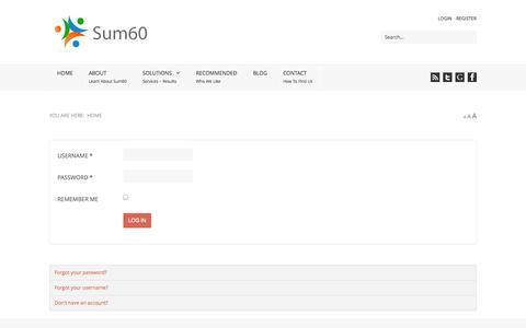 Screenshot of Login Page sum60.com - Sum60 - Sum60 - captured Oct. 29, 2014