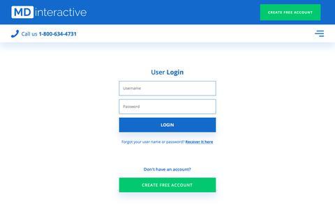 Screenshot of Login Page mdinteractive.com - User Admin Login - Backoffice | MDinteractive - captured Dec. 5, 2018