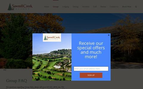 Screenshot of FAQ Page sawmillcreekresort.com - Group FAQ | Sawmill Creek Resort - captured July 27, 2018