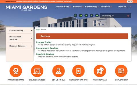 Screenshot of Services Page miamigardens-fl.gov - Services | Miami Gardens, FL - captured Aug. 1, 2017