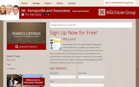 Screenshot of Signup Page mrkempsville.com - Register - captured Feb. 16, 2016