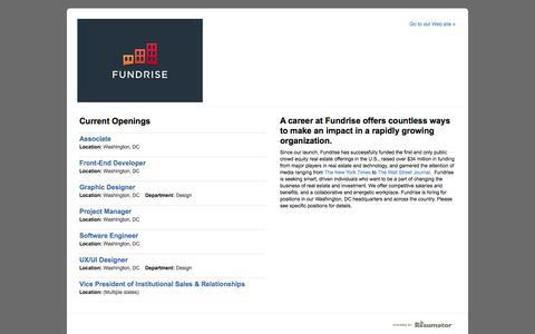 Screenshot of Jobs Page theresumator.com - Fundrise - Job Board - captured Sept. 12, 2014