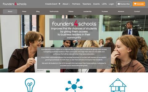 Screenshot of About Page founders4schools.org.uk - about | founders4schools - captured Jan. 8, 2016