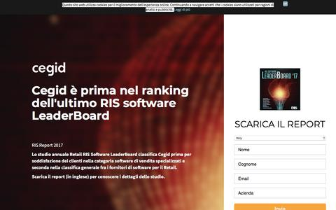 Screenshot of Landing Page cegid.com - Cegid prima classificata nel RIS 2017 - captured Sept. 20, 2018
