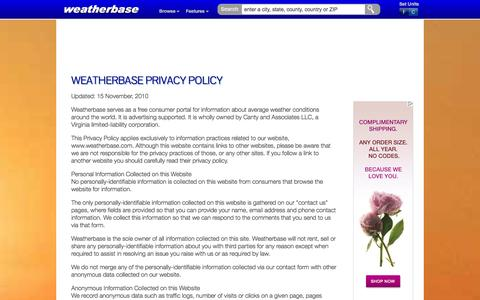 Screenshot of Privacy Page weatherbase.com - Weatherbase Privacy Policy - captured Oct. 31, 2014