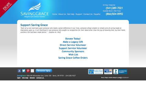 Screenshot of Support Page saving-grace.org - Support - captured Oct. 4, 2014
