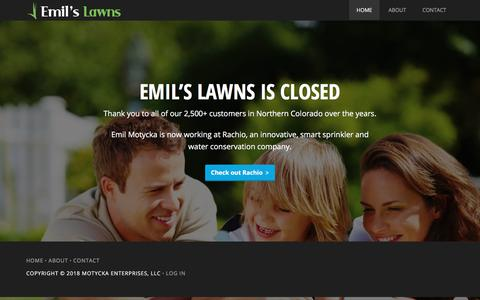 Screenshot of Home Page emilslawns.com - Emil's Lawns · Northern Colorado Lawn Care - captured July 18, 2018