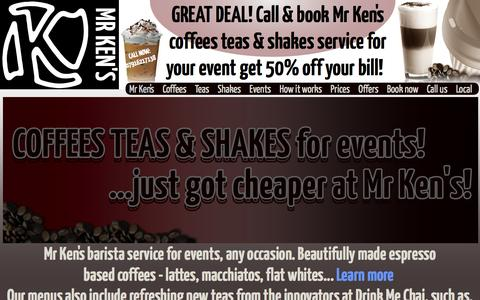 Screenshot of Home Page mrkens.co.uk - Coffee for events. Call 07916217138 to book. Gourmet coffees teas & shakes. - captured Feb. 27, 2016