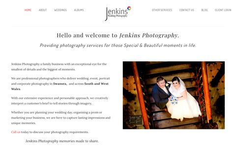 Screenshot of Home Page jenkins-photography.co.uk - Jenkins Photography Ltd | Professional, Commercial, Wedding and Event photography Swansea based - captured Sept. 20, 2018