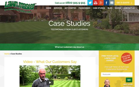 Screenshot of Case Studies Page lawnmaster.co.uk - Lawn Master Reviews, Customer Testimonials and Case Studies - captured July 16, 2018