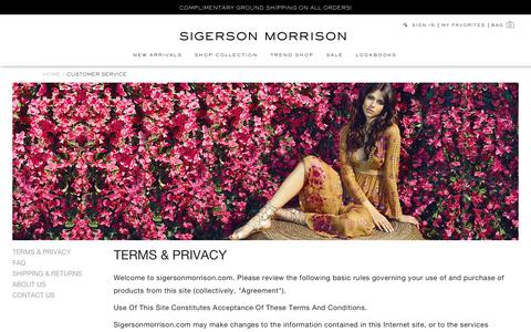 Screenshot of About Page Privacy Page Contact Page FAQ Page Terms Page sigersonmorrison.com - Customer Service - captured July 22, 2016