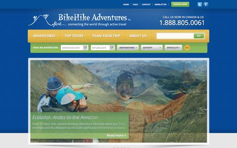 Screenshot of Home Page bikehike.com - Adventure Vacations & Tours Worldwide | BikeHike Adventures - captured Sept. 22, 2018
