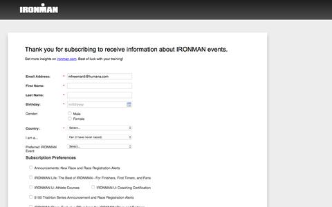 Screenshot of Landing Page ironman.com captured May 21, 2018