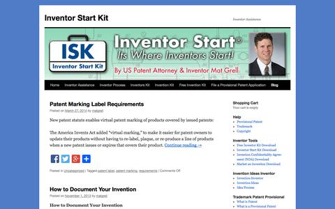 Screenshot of Blog inventorstartkit.com - Bolg | Inventor Start Kit - captured Sept. 30, 2014
