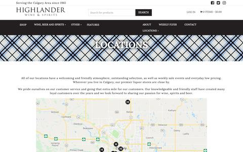 Screenshot of Locations Page highlanderwine.com - Highlander Wine & Spirits | Locations - Highlander Wine & Spirits - captured Dec. 15, 2018