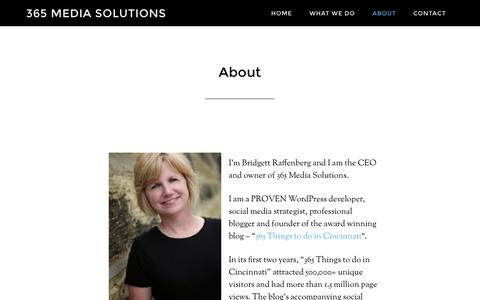 Screenshot of About Page 365mediasolutions.com - About - 365 Media Solutions - captured Oct. 9, 2014