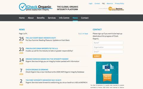 Screenshot of Press Page check-organic.com - News - Check Organic - captured July 26, 2017