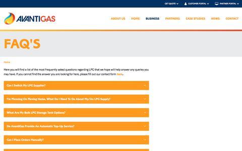Screenshot of FAQ Page avantigas.com - FAQ's | AvantiGas - captured Sept. 19, 2018