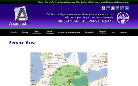 Screenshot of Maps & Directions Page accushred.net - Northwest Ohio Document Destruction and Paper Shredding - captured Oct. 2, 2018