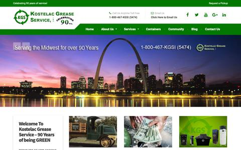 Screenshot of Home Page kostelacgrease.com - Kostelac Grease – Celebrating 90 years of service! - captured Oct. 15, 2018