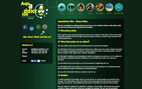 Screenshot of Privacy Page aquaddiction.com - Aquaddiction Dive | Privacy Policy - captured Feb. 6, 2016