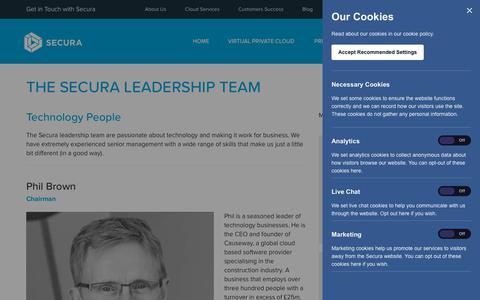 Screenshot of Team Page secura.cloud - The Secura Leadership Team - captured July 10, 2018